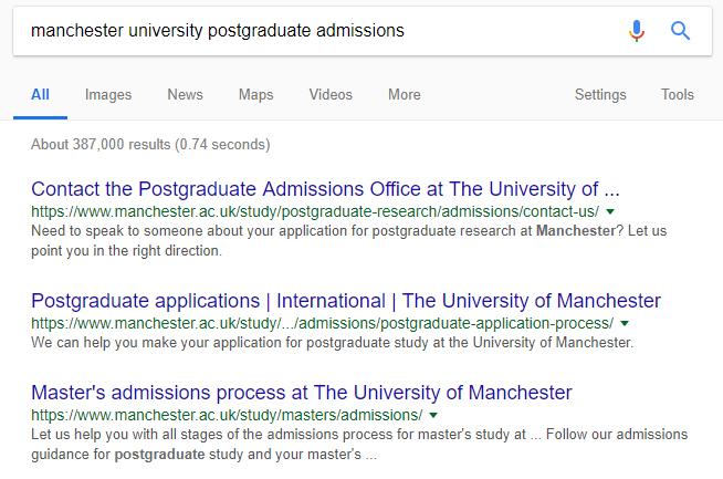 Google Postgraduate Admission
