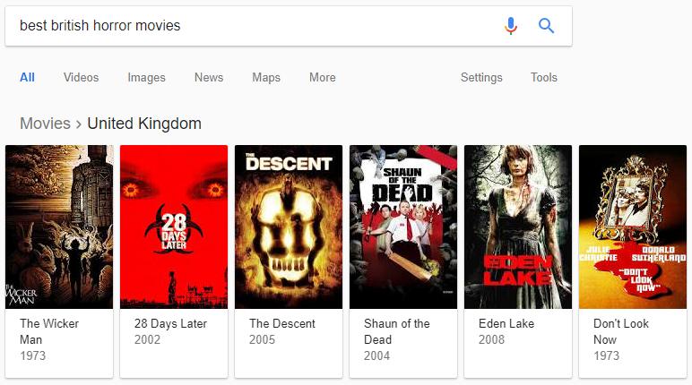 Bahasa Inggris Hobi - Daftar Film Horor British